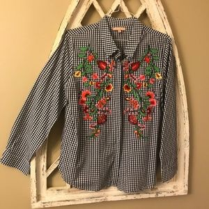Gibson Latimer Gingham Embroidered Shirt